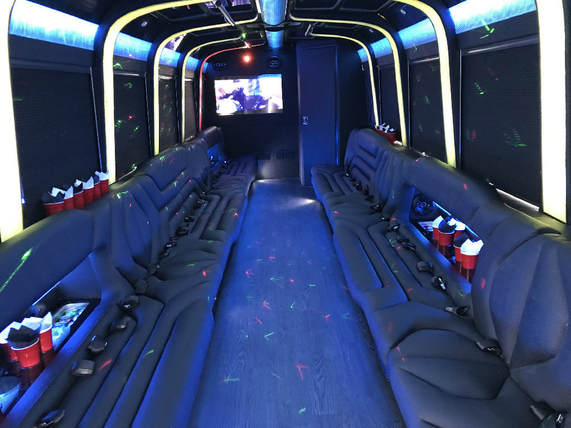 interior party bus dallas with restroom